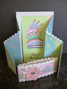 Double Zig Zag card, birthday cake coloured with copics, stampin up papers, blue and green with a touch of pink