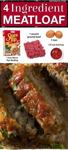 This quick and easy meatloaf recipe will soon be a family favorite! It's made with 4 simple ingredients: Stove Top Stuffing, ground beef, eggs and ketchup. More from my Ingredient Stove Top Meatloaf! Quick Easy Meatloaf Recipe, Meat Loaf Recipe Easy, Stuffed Meatloaf Recipes, Lipton Meatloaf Recipe, The Best Ever Meatloaf Recipe, Easy Dinner Recipes, Easy Meals, Dinner Ideas, Kid Meals