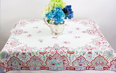 Wilendure White Vintage Cotton Tablecloth with by ElizabethsHome, $32.00
