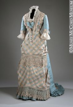 ca. 1873. Beautiful robins egg blue and matching patterned fabric. Nice job, dressmaker!
