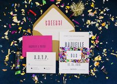 Confetti New Year's Eve Wedding invitations! / Vibrant New Year's Eve Wedding / photo by Jen & Dayton Photography | http://www.forlikeever.events