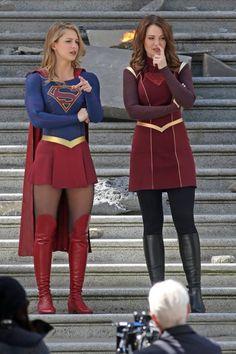 "On the set of ""Supergirl"" Supergirl Movie, Supergirl Outfit, Supergirl Superman, Kara Danvers Supergirl, Supergirl And Flash, Melissa Supergirl, Melissa Marie Benoist, Marvel Cosplay, Dc Comics"