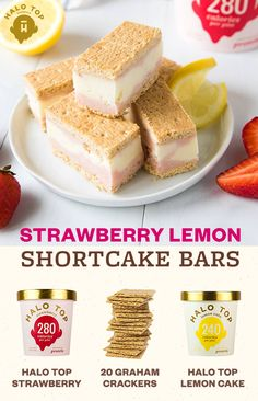 Strawberries and lemons come together to make the perfect fruity dessert! Made with Halo Top Strawberry and Halo Top Lemon Cake ice cream, these Strawberry Lemon Shortcake Bars are the secret to a tru (Butter Mochi Families) Healthy Desserts, Just Desserts, Delicious Desserts, Dessert Recipes, Yummy Food, Healthy Dinners, Yummy Treats, Sweet Treats, It Goes On