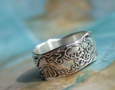 Nautical Silver Ring Ocean Waves Design in Eco by HappyGoLicky, $52.00