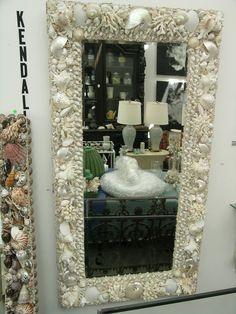 Elegant Shells, Custom Seashell Decor. — Carmel, White Seashell Mirror