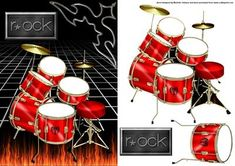 rock red drums card front on Craftsuprint designed by Michelle Johnson - this is a card front with decoupage of a set or red rock guitardrums on a floor of flames for any male birthday, fathers day or other male occassions - Now available for download!
