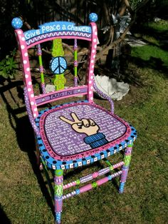 Colorful Beatles chair! Imagine, Give Peace a Chance, peace sign-symbol and fingers sign-LOVE IT!!!