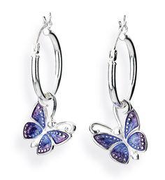 Flying Purple, Schmetterling Einhänger für Creolen aus Silber mit Brandlack.