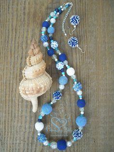 Esclusiva Collana Crochet blu bianco Beaded collana gioielli