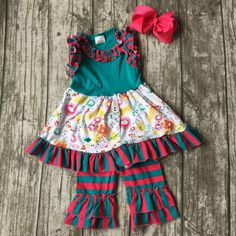 spring summer baby girls suit kids wear boutique clothes stripe ruffles capris sets  floral print cotton matching hairbows