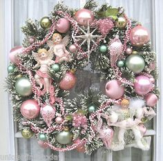 Vintage Bottle Brush Wreath Handmade Pink & Green Christmas Ornaments Angels on eBay!