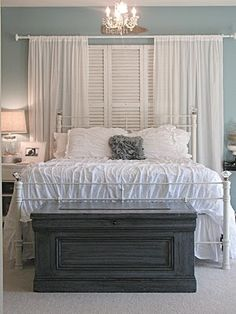 Idea for bedroom window?? Shutters over window long curtains on the side.