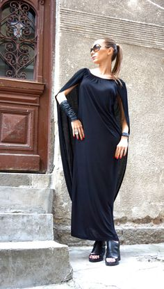 NEW Collection Sexy Summer Black Extravagant Maxi Dress /Viscose Maxi Dress /Attached Cape /Off Shoulders or Covered Dress by AAKASHA A03395