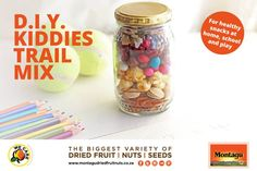 Who said trail mixes were only for grownups? Kids should have their own too! Perfect for home, school or play, be inspired by our DIY Kiddies Trail Mix ideas below. Stock up on all your little one's favourite healthy snacks at your nearest Montagu store. Trail Mix Kids, Healthy Kids, Healthy Snacks, Dried Fruit, Diy For Kids, Healthy Lifestyle, Play, Inspired, School