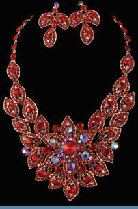 Red Iridescent Rhinestone Necklace with Earrings Accented in Silvertones $68 @ www.whimzaccessories.com