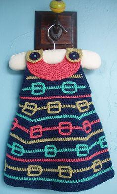 Chorrilho de ideias: Vestido colorido em crochet para menina