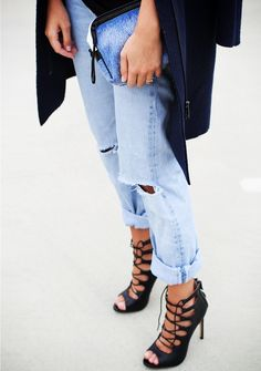 Cuffed jeans + strappy heels