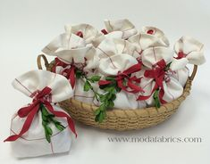 Christmas gift bags made from tea towel fabric