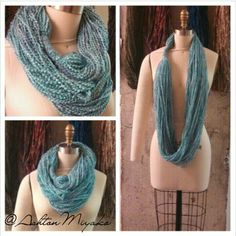 Infinity yarn scarf. Baby blue, creme and people.