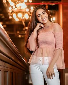 Reem killin it in this blush pink top:) Indian Tv Actress, Indian Bollywood Actress, Bollywood Fashion, Stylish Girls Photos, Stylish Girl Pic, Chic Outfits, Fashion Outfits, Teen Celebrities, Beautiful Girl Image