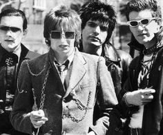 The Damned, left to right:  Dave Vanian, Rat Scabies, Brian James and Captain Sensible
