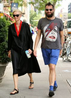Back to her old self again! Tilda Swinton, 53, relaxed in New York with partner Sandro Kop...
