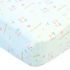 coral, gold, and aqua floral crib sheet