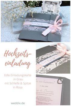 Hübsche Hochzeitseinladung In Grau U0026 Rosa 💌#weddinginvitation  #hochzeitseinladung #hochzeitskarte #grau #