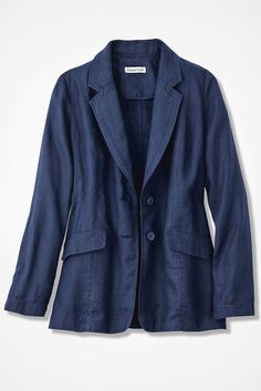 Our iconic favorite is back in cool collected linen with refined and updated styling. Includes princess seams to shape and flatter, and set-in sleeves. Rows of stitched trim accent collar and lapels. Unlined for easy movement, with button front and deep front flap pockets.  #warmweatherjacket #classicBlazer #womenBlazer #linen #petiteBlazer #plussizeblazer