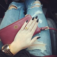 Black stiletto nails Tory burch Ripped jeans