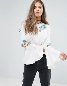 Boohoo Embroidered Flare Sleeve Top white asos