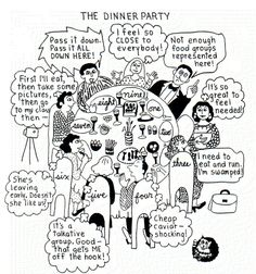 The dinner party. Enneagram humor. enneagram