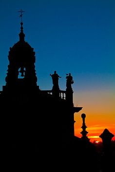 Spain. Santiago de Compostela. Church at the sunset.