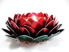 Chainmail Candle Holder Posable Rose Lotus Flower. $25.00