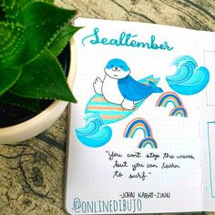 I haven't written any blog yet coz I'm spending time with this cutie chilling on his surfboard😁 My housemate wanted me to make a beach theme which is just in time for Seal-tember 😉 Finally got the courage to use my guache paints on ESC journal, but painting using teeny tiny detail brush made my fingers cramped. I will upload my September theme on my YouTube channel sometime next week. Hope most of you lovelies are curious to see that. Has anyone done with September setup? September Themes, Monthly Themes, Bullet Journal Themes, Guache, Weekly Spread, Beach Themes, Chilling, Spreads
