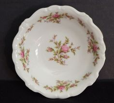 Moss Rose by Johann Haviland Bavaria, Dessert Bowl, White Porcelain, Pink Rose #JohannHavilandBavaria