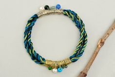 Custom cord bracelet, blue petrol bangle, macrame braided cuff, multicolor jewelry, stacking bracelet, friendship bracelet, friend gift idea by ColorLatinoJewelry on Etsy
