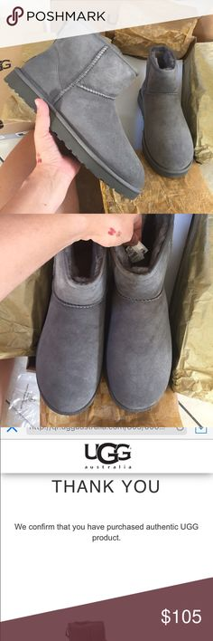 UGG authentic classic mini short grey boots Sz 7 UGG authentic classic mini short grey boots Sz 7 NEW 100% authentic QR reader scannable tag to prove authenticity. Itemcloset#seido (PLEASE NO LOW BALLING IS RUDE SOMEONE JUST OFFERED 30$ super offensive because i don't get uggs for free.   -rant ) UGG Shoes