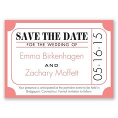 Ticket for Love - Coral Reef - Save the Date Magnet