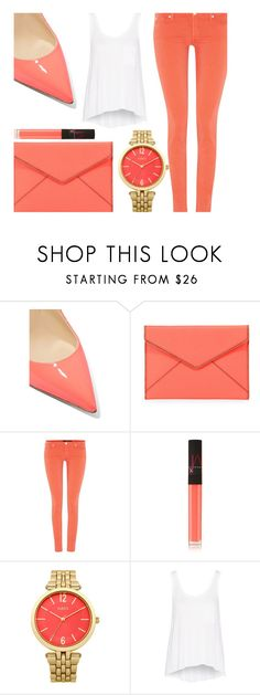 """""""Coral"""" by my-style-xo ❤ liked on Polyvore featuring Christian Louboutin, Rebecca Minkoff, 7 For All Mankind, NARS Cosmetics, Oasis and rag & bone"""