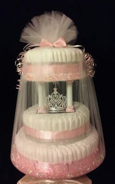 III-Tier Princess Tiara Light-Up Diaper Cake on a Spinning Base #baby #babygirl…