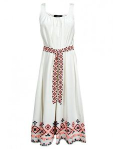 Embroidered Shirred Tank Dress By Suno