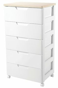 IRIS Premier Collection 5 Drawer Storage Chest, White And Natural Iris,http: