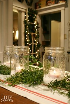 mason jar Christmas centerpiece maybe like burlap as the table runner.