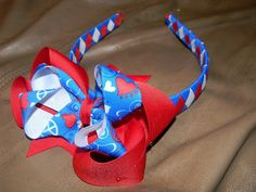 4th of July Red white Blue boutique ribbon woven by HairbowsNMore, $12.00