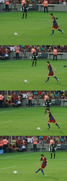 Messi when shooting a penalty kick! Most likely scoring! LETS GO MESSI!