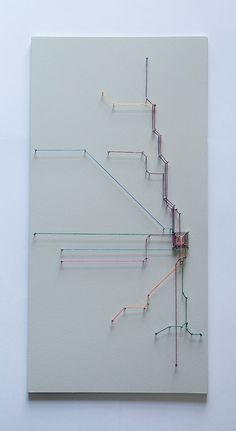 Chicago String Art- Transit Map on Etsy, $50.00