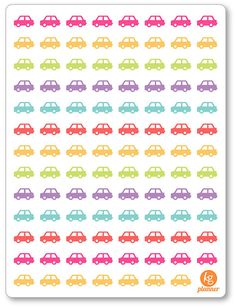 Cars Planner Stickers for Erin Condren Planner, Filofax, Plum Paper