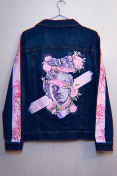 Painted Jeans, Painted Clothes, Custom Clothes, Diy Clothes, Custom Denim Jackets, Denim Art, Denim Ideas, Ideias Fashion, Fashion Outfits