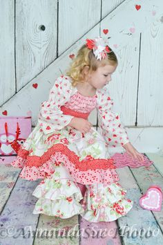 Valentine's Day little girls ruffle dress by SoSoHippo on Etsy